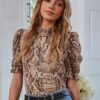Shein Mock Neck Cut-out Puff Sleeve Snakeskin Top