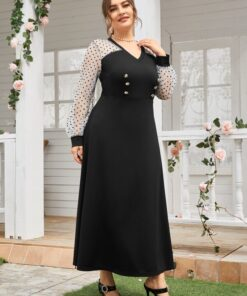 Shein Plus Dobby Mesh Sleeve Double Button Maxi Dress
