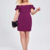 Shein Plus Solid Ruffle Trimed Fitted Dress