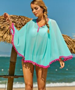 Shein Pompom Trim Chiffon Cover Up Without Bikini