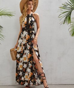 Shein Tie Back Lace Insert Split Thigh Floral Cami Dress