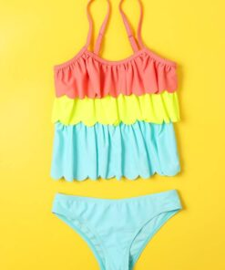 Shein Toddler Girls Color Block Scalloped Trim Bikini Swimsuit