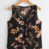 Shein V Neck Lace Insert Floral Print Top
