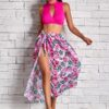 SHEIN 3pack Rib Cut-out Bikini Swimsuit & Floral Cover Up