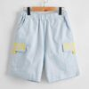 SHEIN Boys Letter Graphic Flap Pocket Patched Shorts