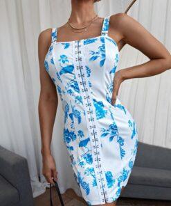 SHEIN Floral Hook & Eye Cami Dress