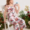 SHEIN Girls Allover Floral Ruffle Trim Jumpsuit