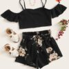 SHEIN Girls Cold Shoulder Top & Floral Print Belted Shorts Set
