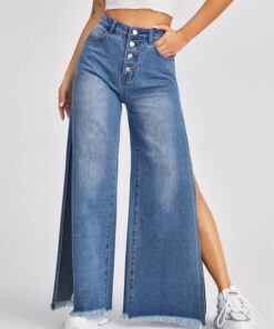 SHEIN High Waist Button Fly Split Side Jeans