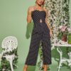 SHEIN Peekaboo Front Striped Tube Jumpsuit