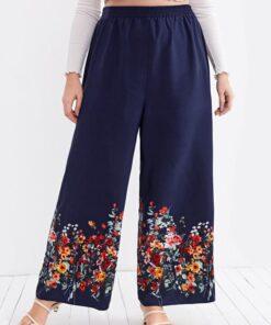 SHEIN Plus Floral Print Wide Leg Pants