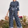 SHEIN Plus Layered Bell Sleeve Paisley Print Belted Jumpsuit
