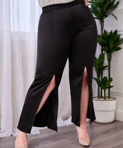 SHEIN Plus Split Front Flare Leg Pants