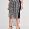 SHEIN Plus Striped Side Houndstooth Pencil Skirt