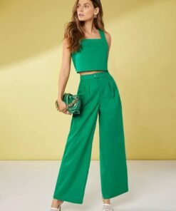 SHEIN Solid Tank Top & Fold Pleated Pants Set