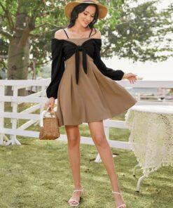 SHEIN Tie Front Cold Shoulder Dress