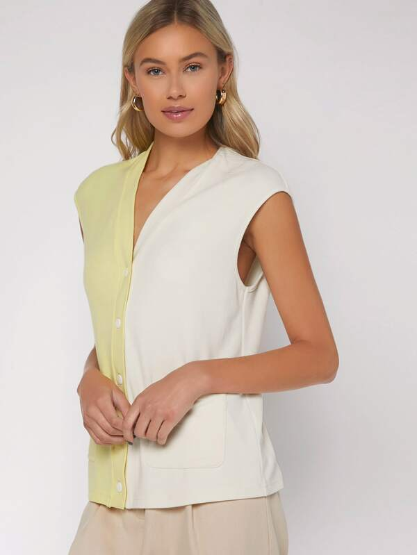 SHEIN V Neck Button Front Two Tone Top