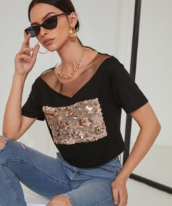 Shein Contrast Mesh And Sequin Tee