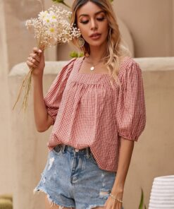 Shein Gingham Square Neck Puff Sleeve Blouse