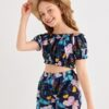Shein Girls Butterfly Print Frill Trim Bardot Top With Shorts