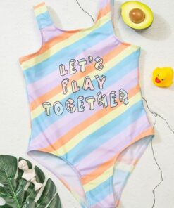 Shein Girls Letter Graphic Colorblock One Piece Swimsuit