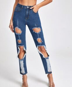 Shein High Waist Ripped Mom Cropped Jeans