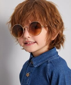 Shein Kids Round Metal Frame Sunglasses With Case