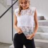 Shein Lace Button Keyhole Top