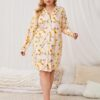 Shein Plus Allover Floral Print Lapel Neck Nightdress