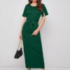 Shein Solid Belted Split Sleeve Fitted Dress