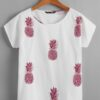SHEIN Batwing Sleeve Pineapple Print Top