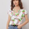 SHEIN Cut Out Front Floral and Geo Print Top