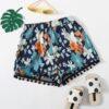 SHEIN Girls Fringe Hem Floral Shorts