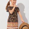 SHEIN Girls Off Shoulder Floral Dress