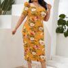 SHEIN Plus Floral Puff Sleeve Split Hem Dress