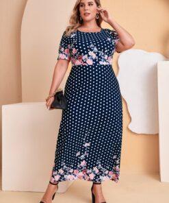 SHEIN Plus Polka Dot & Floral Print Dress