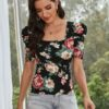 Shein Allover Floral Puff Sleeve Square Neck Tee