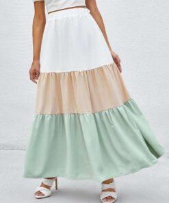 Shein Color Block Ruffle Hem Skirt