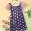Shein Girls Butterfly Print Contrast Mesh Sleeve Dress