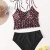 Shein Plus Ditsy Floral Ruffle Hem Bikini Swimsuit