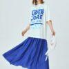 SHEIN Drop Shoulder Contrast Ruffle Hem Letter Graphic Dress