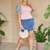 SHEIN Plus Tropical Puff Sleeve Rib-knit Top