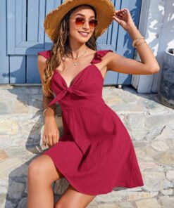 SHEIN Ruffle Strap Knot Front Solid Dress