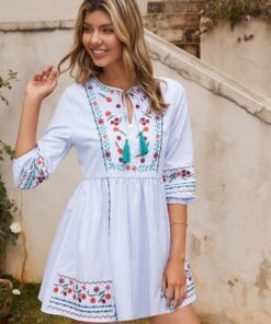 SHEIN Striped Floral Embroidered Tie Neck Dress
