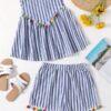 SHEIN Tassel Trim Striped Tank Top & Shorts Set