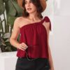 SHEIN Tied One Shoulder Solid Top