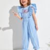 SHEIN Toddler Girls Embroidery Letter Ruffle Armhole Jumpsuit