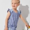 SHEIN Toddler Girls Ruffle Armhole Tie Front Striped Top