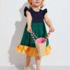 SHEIN Toddler Girls Ruffle Trim Colorblock Smock Dress