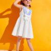SHEIN Toddler Girls Striped Ruffle Trim Bow Front Dress